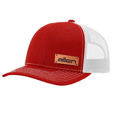 Red Allen Leather Patch Hat