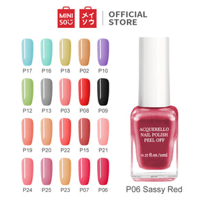 MINISO 11ML Cat Kuku Kutek Glossy Peel Off Dapat merobek cat kuku Kutek Gel Nail polish, Poles Pewarna Wanita, Nail Polish Assorted Colours