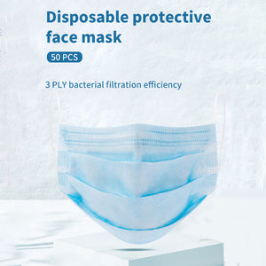 MINISO Masker Mulut Wajah Pembuang 50 Pcs 3 Lapisan Disposable Face Masks Earloop Pengait Telinga Bernapas Anti Bakteri Debu