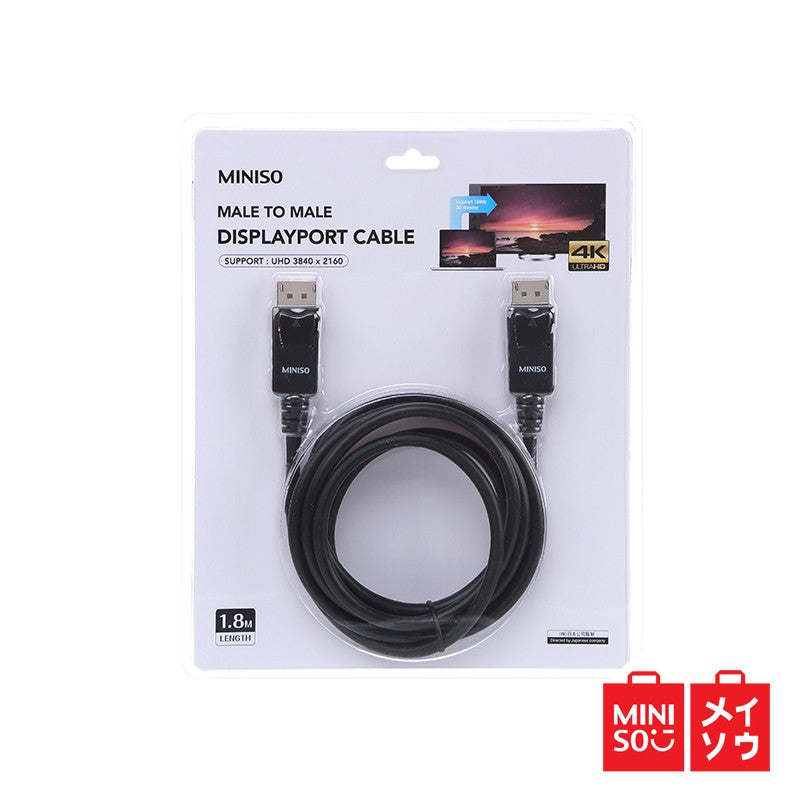 MINISO Display Port Cable male to male 1.8m (Black) (05MN-0410)