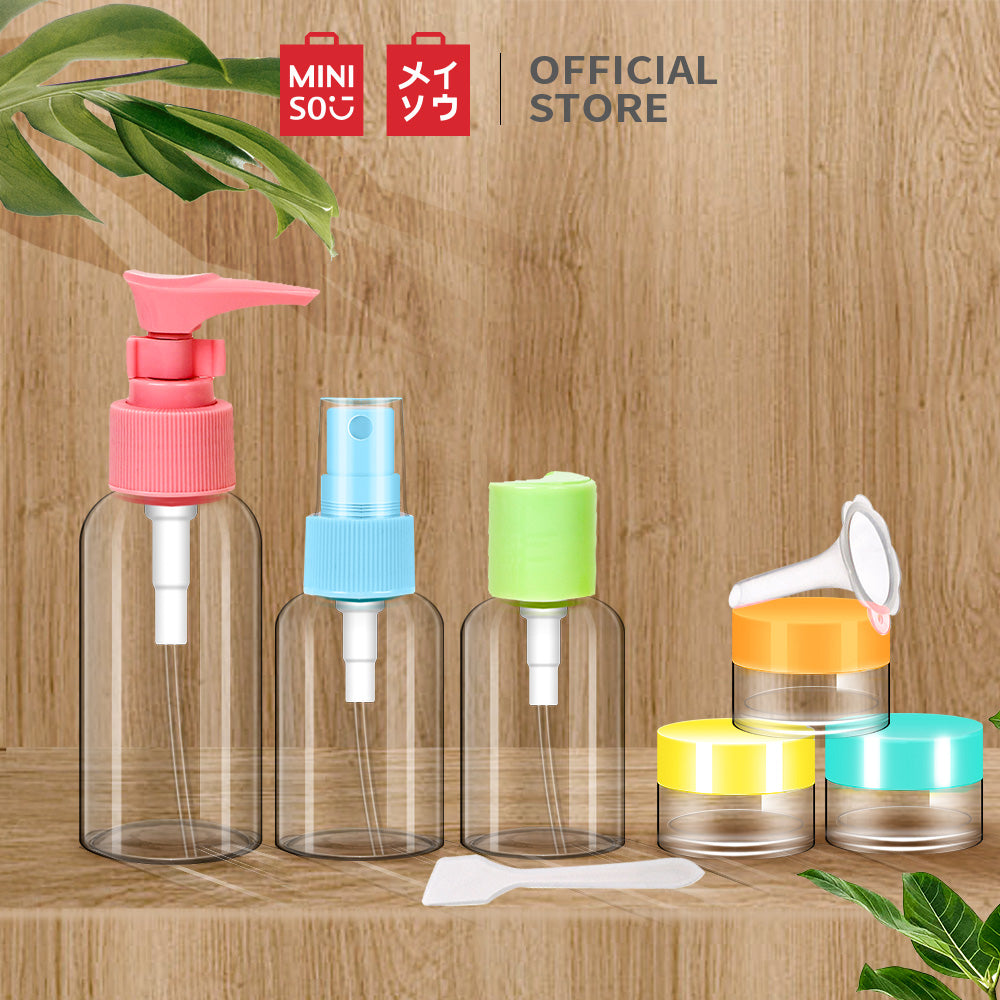 Miniso Official travel botol 6 Pieces Colorful Traveling Bottle Set