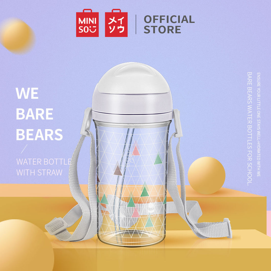 MINISO Botol Minum Plastik 400ml Plastic Cute Water Bottle w Tali Sedotan Botol Air Lucu utuk Anak We Bare Bears