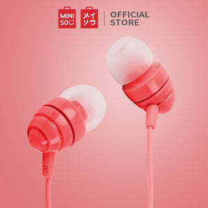MINISO Headset Earphone Kabel dengan Mic microphone Earbuds in Ear Headphone Noise Cancelling Awet Universal  Stereo Jawab Akhiri Panggilan Musik Hp Laptop PC Original Bass Gaming Wanita Pria Simple Masuk Telinga Android Warna