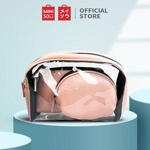MINISO Set Tas Kosmetik Tempat Make Up Cosmetic Bag Travel 3 Pcs