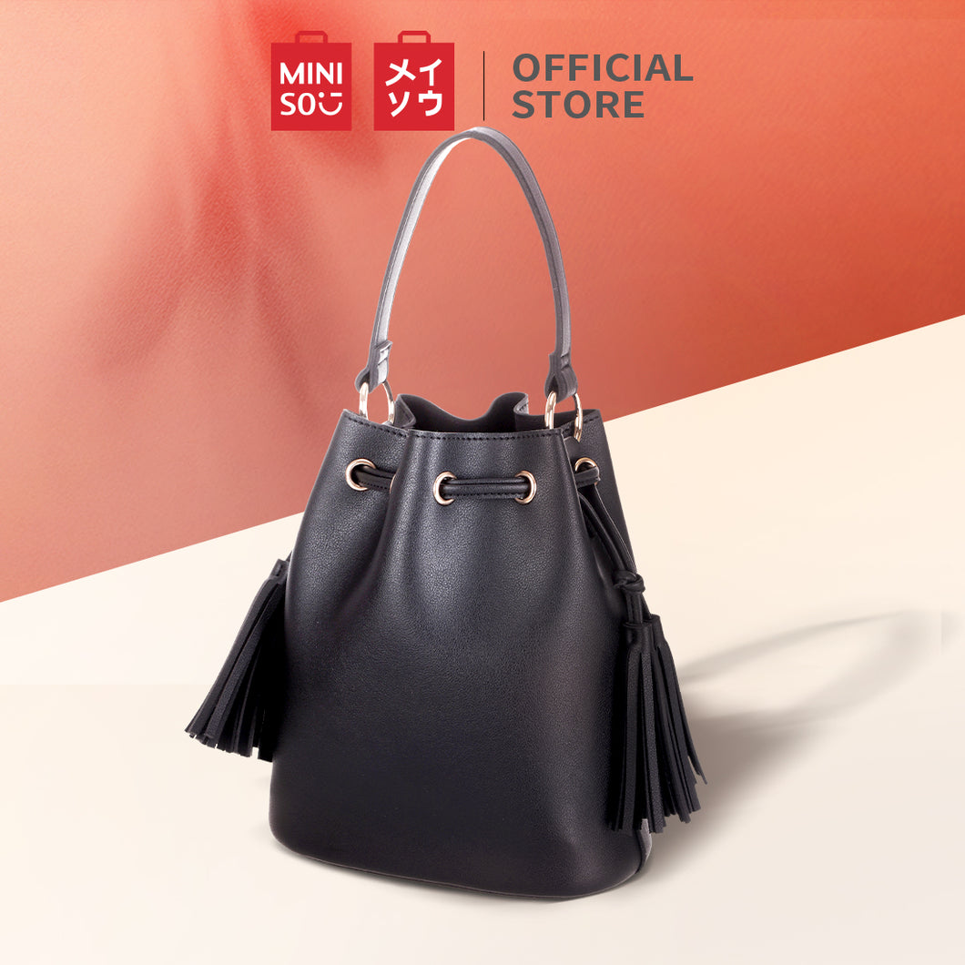 MINISO Tas Bahu Wanita Totebag Sling Bag Bucket Simple Polos Rumbai