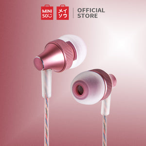 MINISO Earphone / Earbud In Ear / Headphone / Headset dengan Mic Answer Call Hp Lucu In Ear Kabel Gaming Android Suara Jernih Stereo Noise Cancelling Bass Metal Warna