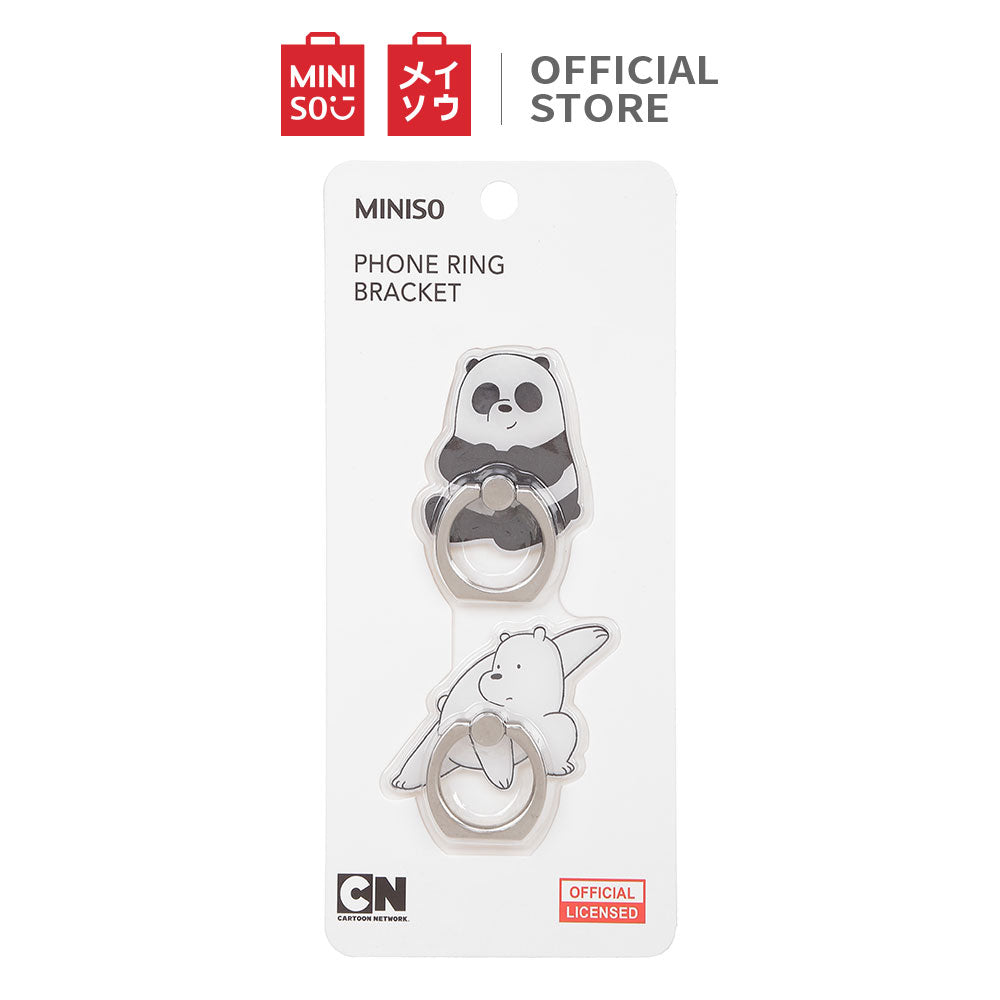 MINISO Smart Grip Ring Holder Phone Mobile Stand HP We Bare Bears 2 Pcs