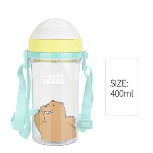 MINISO Botol Minum Air Plastik Sedotan We Bare Bears Lucu Anak 400ml