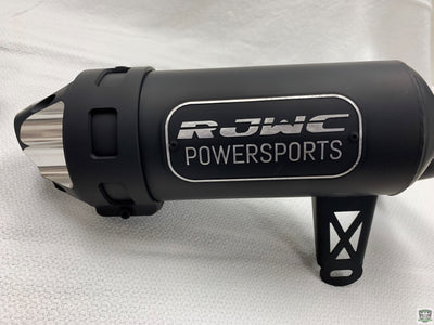 RJWC Single Exhaust Ceramic Coated Black with Machined Tips and Lettering