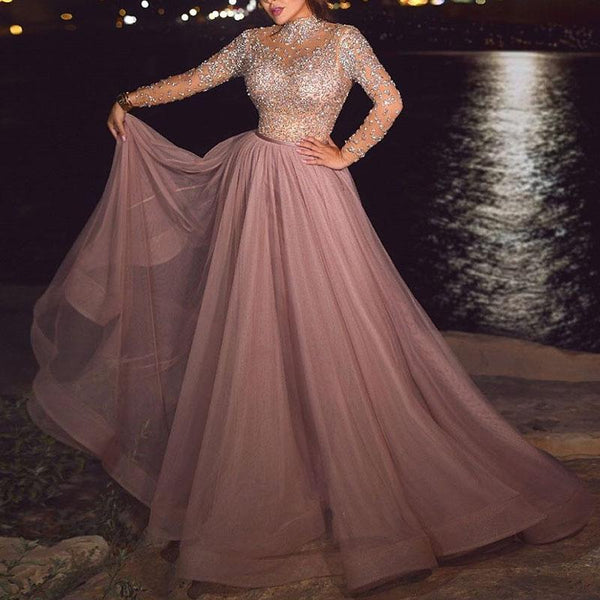 Sexy Round Neck Long Sleeve Sparkling Evening Dress