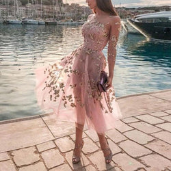 Sheer Mesh Sequin Evening Dress
