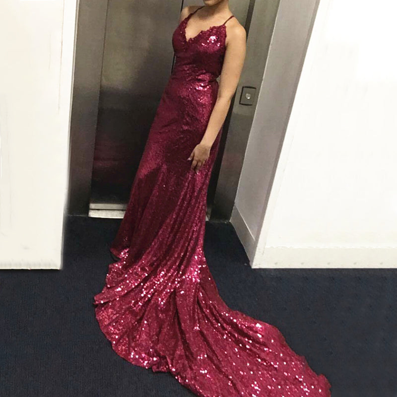 Sexy Solid Color Sling Sequined V-Neck Shiny Evening Dress