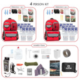 Family Prep Survival Kit with Water Purification Straw Filter - 4 Person