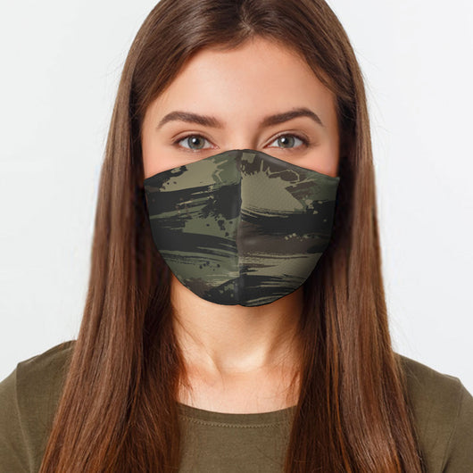 Reusable Face Cover - Green Camo Face Mask