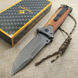 Tactical Folding Knife - Colorful Steel - Solid Wood Handle
