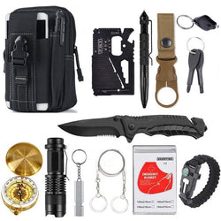 Survival Gear Kit - 13-in-1 Tactical Tool Set for Outdoors