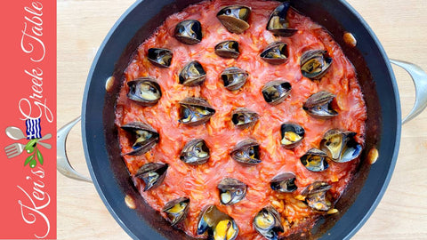 baked orzo & mussels