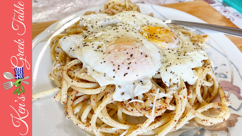 greek sizzling pasta from mani