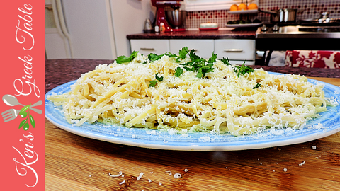 Linguine with Burnt Mizithra Cheese and Olive Oil