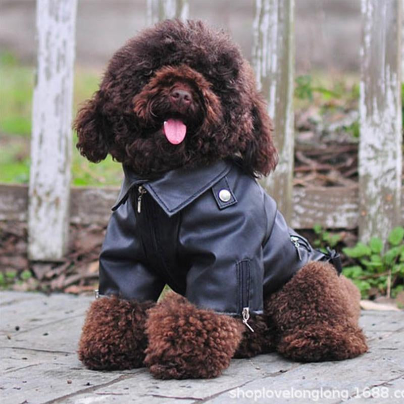 Dog Coat PU Leather Jacket Soft Waterproof