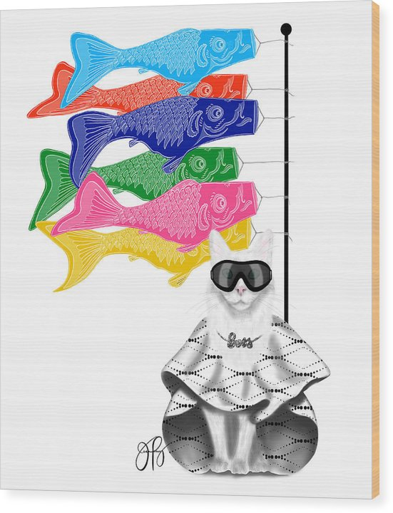 Boss Babe Windsock Fish - Wood Print