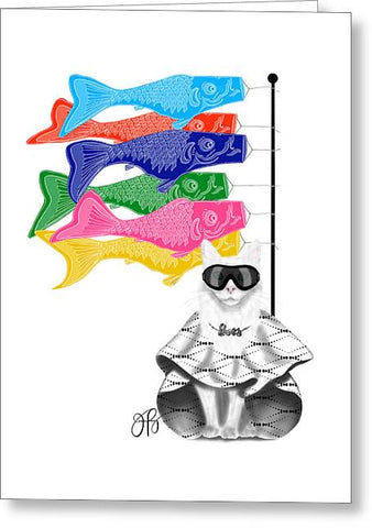 Boss Babe Windsock Fish - Greeting Card