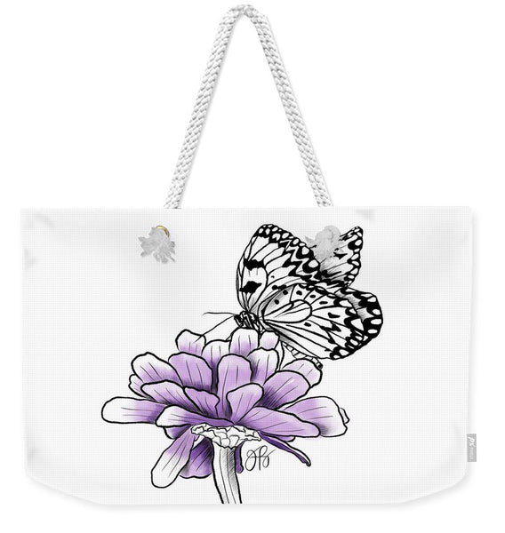 Butterfly on Zinnia - Weekender Tote Bag