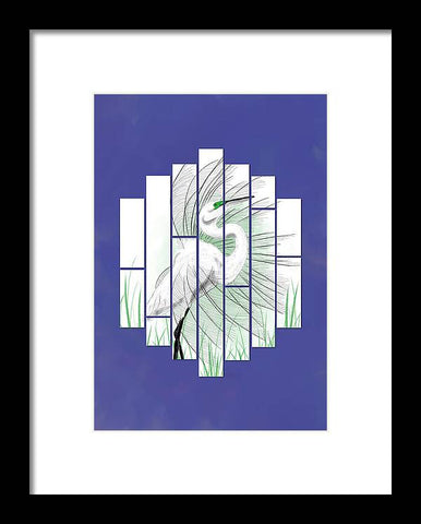 Column Egret - Framed Print