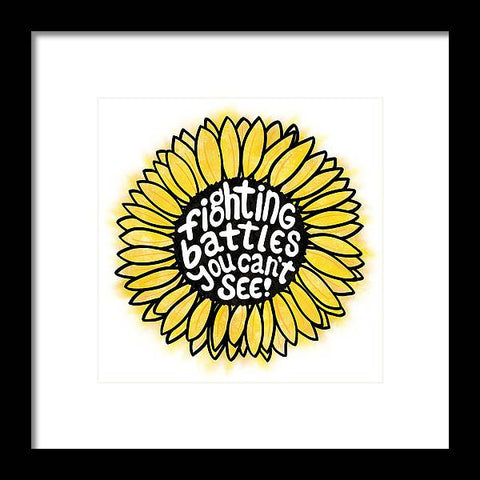 Fighting Battles Sunflower - Framed Print