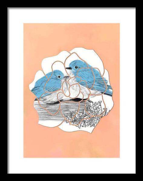 Flower Bluebird - Framed Print