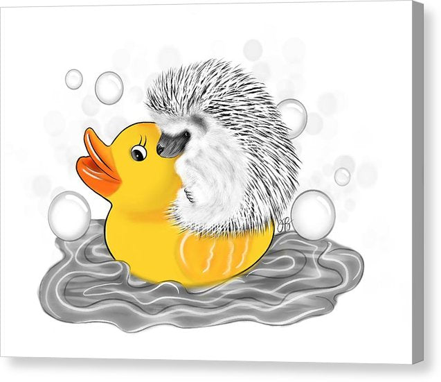 Hedgehog on Rubber Ducky - Inktober - Canvas Print