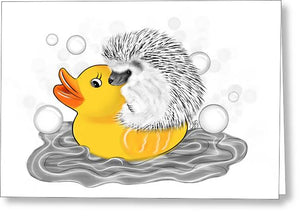 Hedgehog on Rubber Ducky - Inktober - Greeting Card