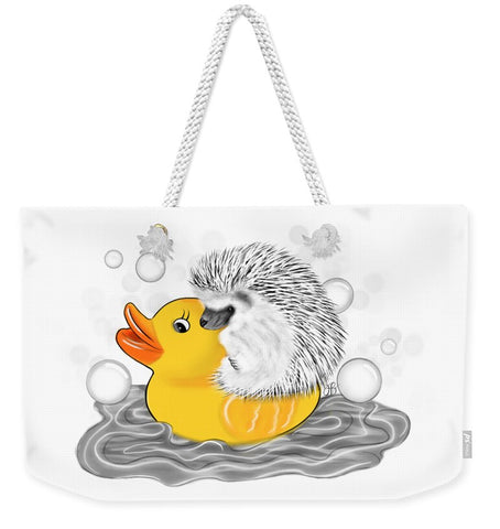 Hedgehog on Rubber Ducky - Inktober - Weekender Tote Bag