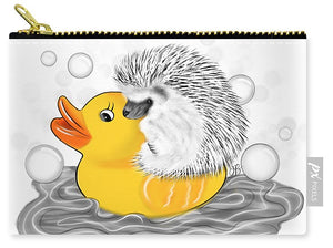 Hedgehog on Rubber Ducky - Inktober - Carry-All Pouch