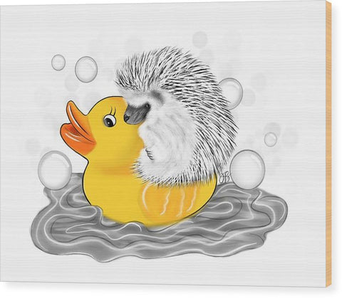 Hedgehog on Rubber Ducky - Inktober - Wood Print