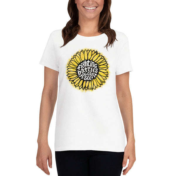 Fighting Battles Sunflower - Women's Scoop Neck Tee