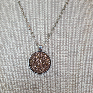 Druzy Pendant Necklace, Silver, Rose Gold Pendant