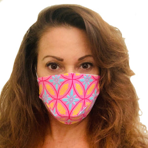 Pink Damask Adult Face Mask