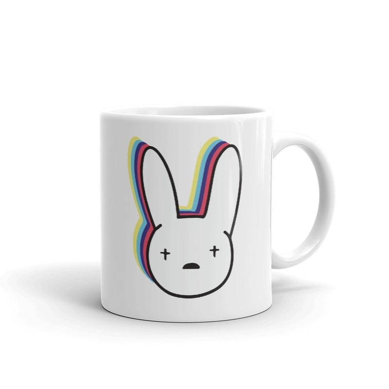 Taza de color blanco de bad bunny el conejo malo