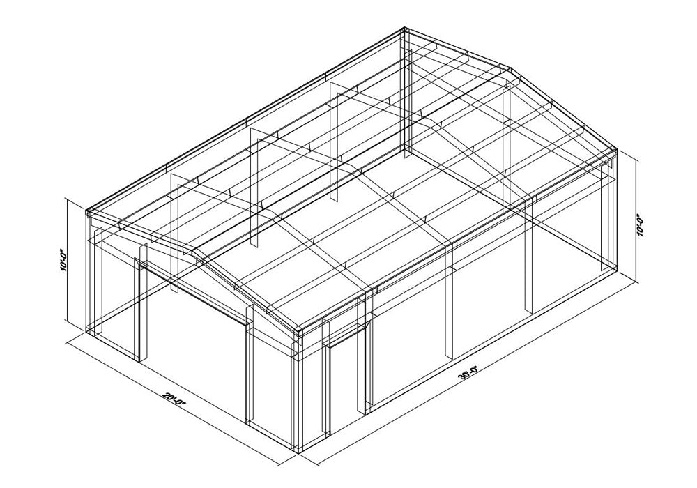 20 x 30 x 10 Steel Building Kit