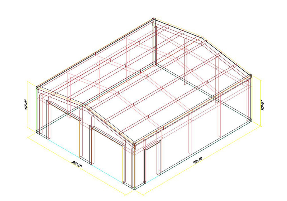 25 x 30 x 10 Steel Building Kit