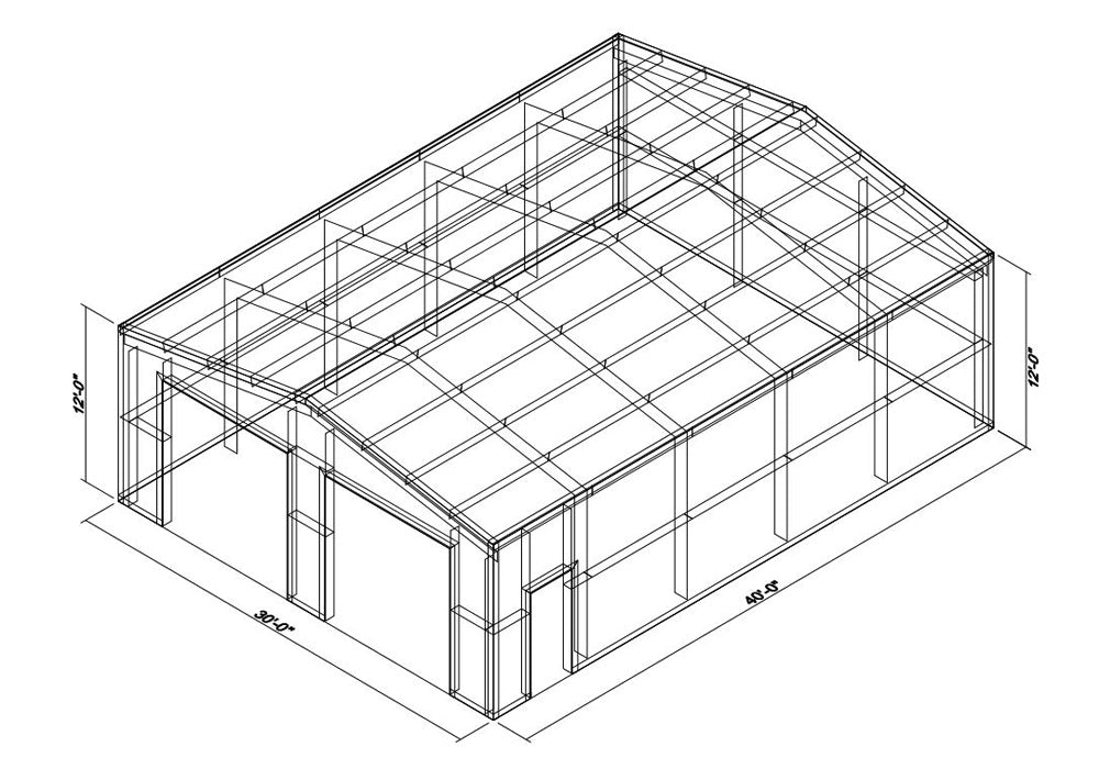 30 x 40 x 12 Steel Building Kit