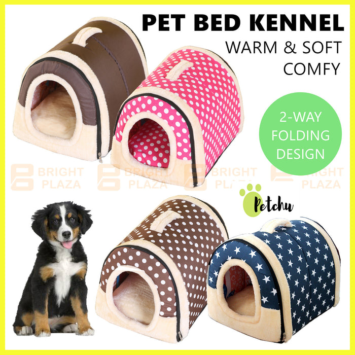 Pet Dog Cat House Kennel Soft Igloo Bed Cave Puppy Doggy Bed Warm Cush