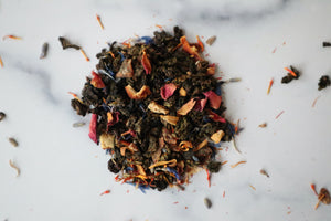 Morning Sex features Milky Oolong tea, orange peels, dates, roses, lavender, orange flowers,  blue cornflowers, safflowers, and flavors. Exclusively blended in Europe with premium ingredients from around the world. Founded and packaged in the USA. We deeply appreciate your purchase.