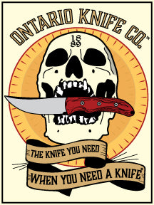 Ontario Knife Co. Skull and Knife Sticker