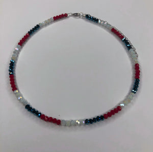 Red, White and Metallic Blue Choker