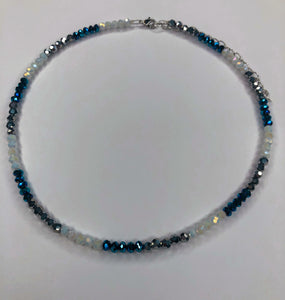 Metallic Blue, Metallic Silver and White Choker