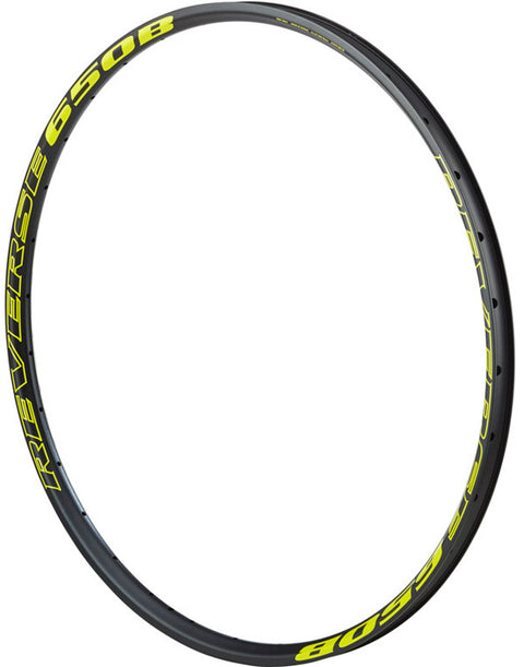 REVERSE Rim 650B AM/EN Dextro Alloy (Black/Yellow) F/Valve Ø6,3, shoot peen, ERD 560,5mm++, 32h, 448g - GiraSykkel
