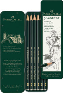 Castell 9000 graphite pencil, tin of 6