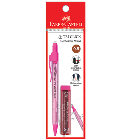 Tri Click Mechanical Pencil 0.5mm with leads, Pastel Colours, PB of 1